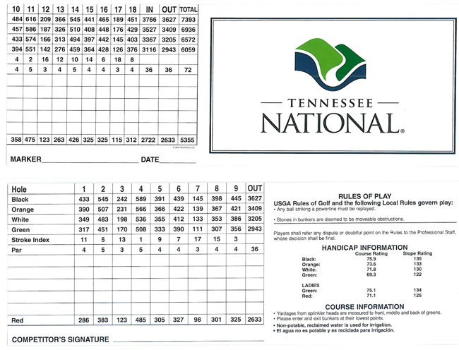 Tennessee National Score Card
